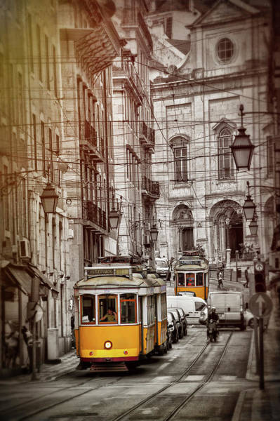 Street Scenes Photograph - Famous Yellow Trams Of Lisbon Portugal  by Carol Japp