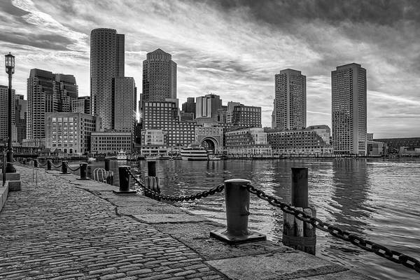 Photograph - Fan Pier Boston Harbor Bw by Susan Candelario