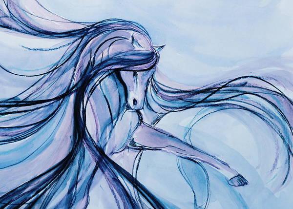 Andalusian Stallion Wall Art - Mixed Media - Fancy Blue Dancer by Jennifer Fosgate