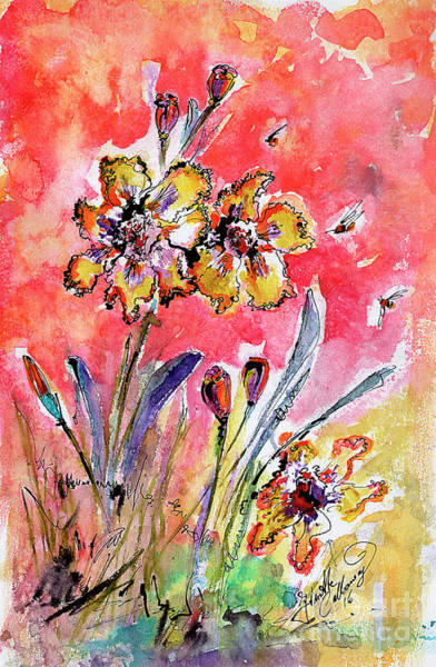 Painting - Fancy Irises Flower Watercolor by Ginette Callaway