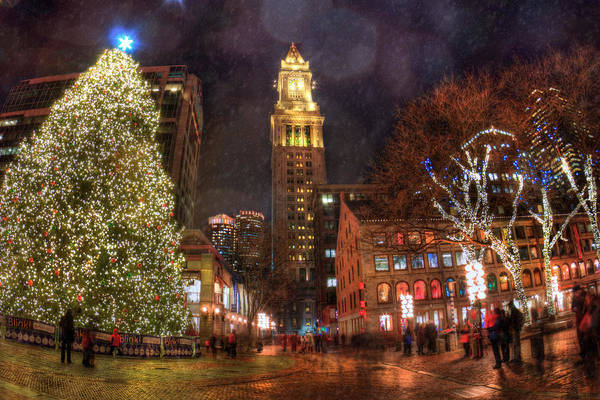 Photograph - Faneuil Hall - Boston Holiday Scene by Joann Vitali