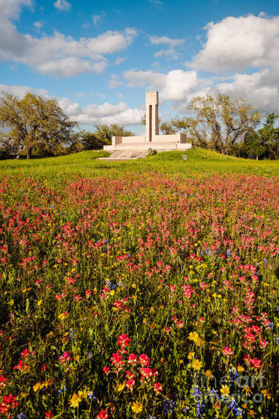 Battleground Photograph - Fannin Monument And Memorial With Wildflowers In Goliad - Coastal Bend South Texas by Silvio Ligutti