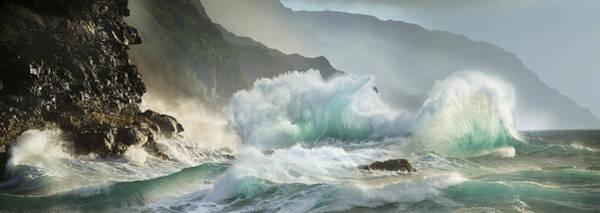 Queens Bath Photograph - Fantail Waves Kauai Beach by Sun Gallery Photography Lewis Carlyle