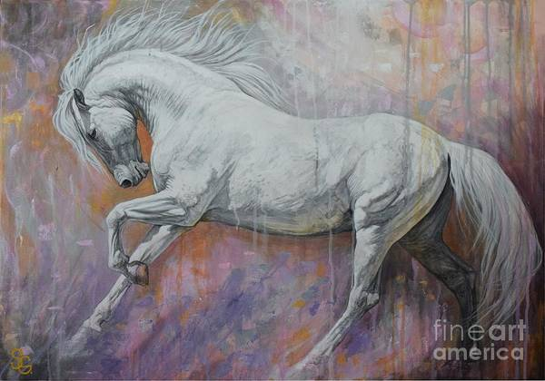 White Horse Wall Art - Painting - Fantasia by Silvana Gabudean Dobre