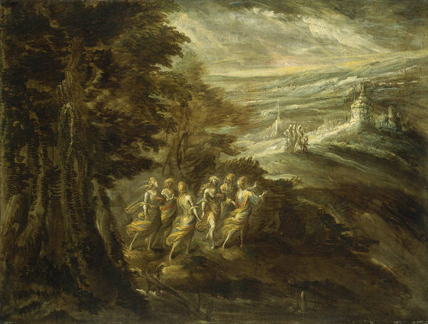 Wall Art - Painting - Fantastic Landscape With Figures by Emilian 16th Century