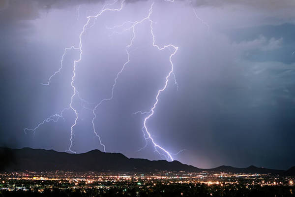 Photograph - Fantastic Lightning Show Over City Lights by James BO Insogna