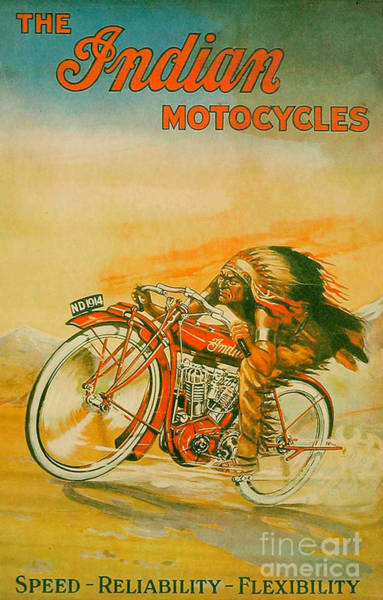 Wall Art - Painting - Fantastic Old Indian Motorcycle Poster by Pd