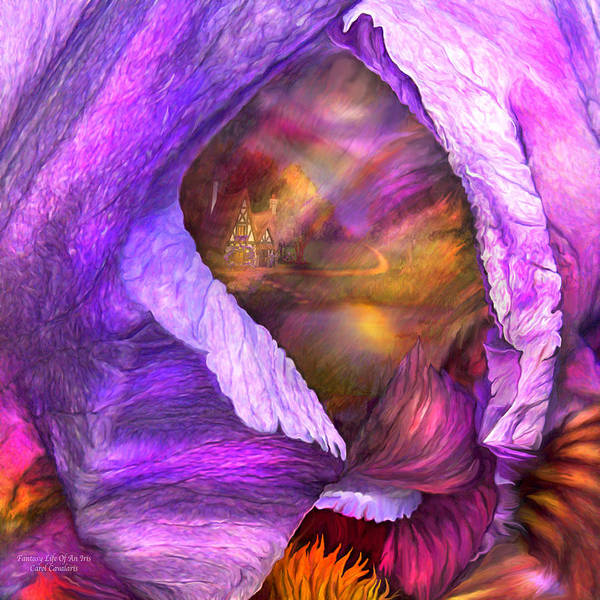 Purple Iris Mixed Media - Fantasy Life Of An Iris by Carol Cavalaris