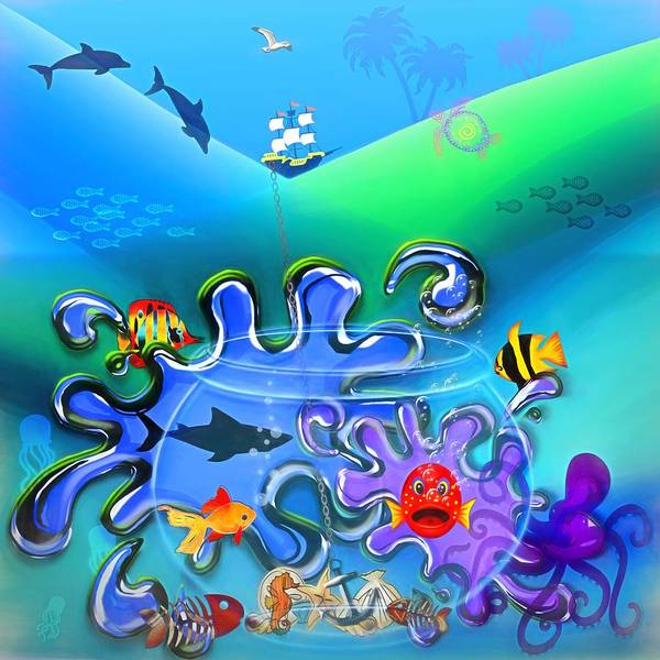 Fun Wall Art - Digital Art - Fantasy Ocean by Steve Ohlsen