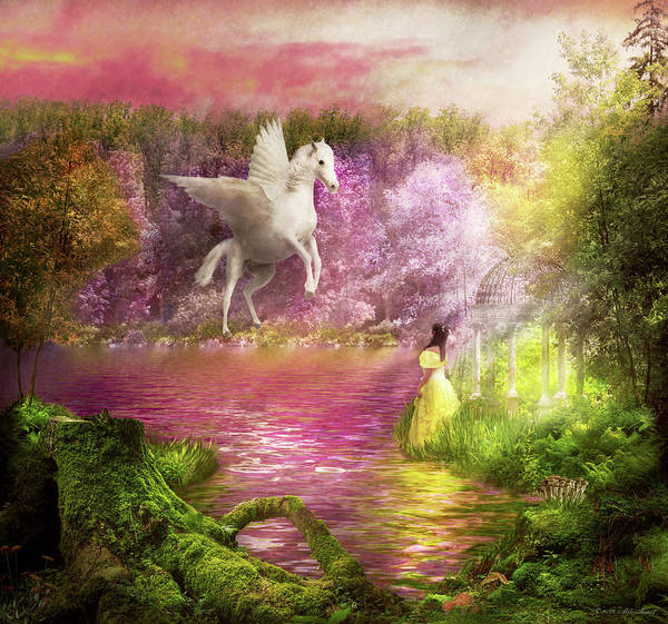 Photograph - Fantasy - Pegasus - The Enchanted Garden by Mike Savad
