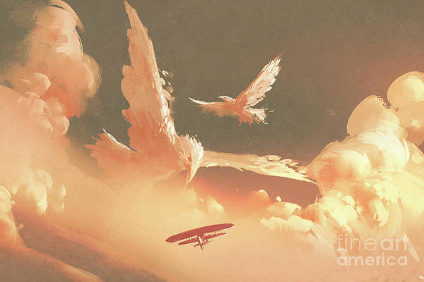 Art Print featuring the painting Fantasy Sky by Tithi Luadthong