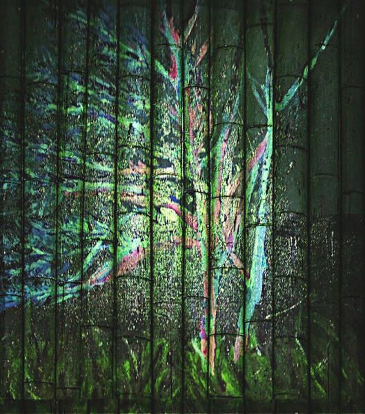Blacklight Painting - Fantasy Tree On Bamboo by Pamela Smale Williams