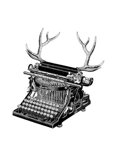 Antlers Digital Art - Fantasy Typewriter by Madame Memento