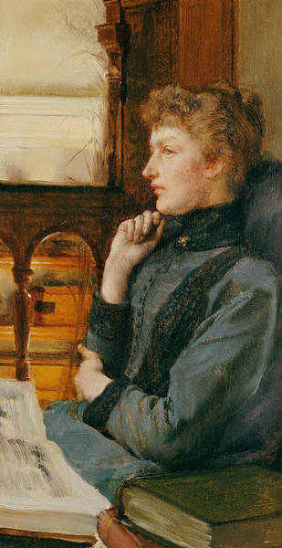 Pensive Painting - Far Away Thoughts by Sir Lawrence Alma-Tadema