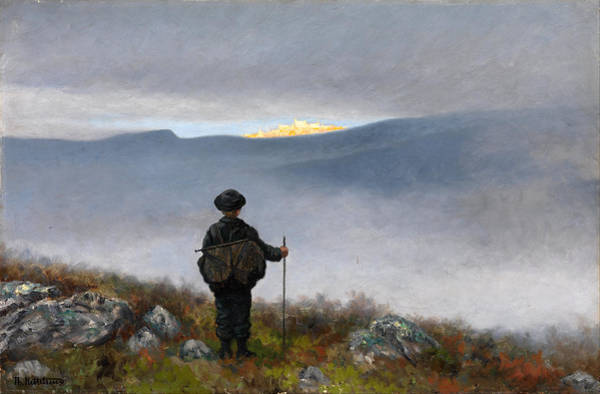 Far Away Wall Art - Painting - Far Far Away Soria Moria Palace Shimmered Like Gold by Theodor Kittelsen