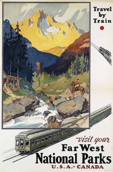 Kunst Painting - Far West National Parks - Vintage Travel Poster by Studio Grafiikka