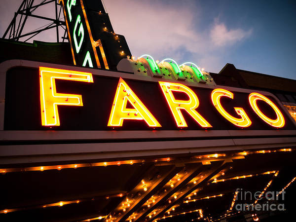 North Dakota Photograph - Fargo Theatre Sign At Night Picture by Paul Velgos