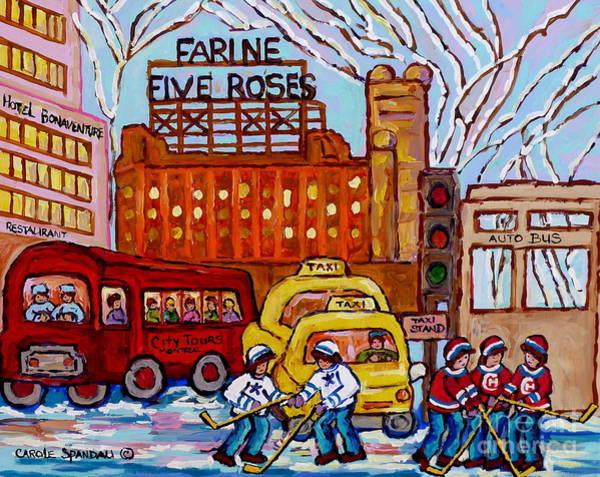 Painting - Farine Five Roses Montreal 375 Hometown Hockey Hotel Bonaventure Tour Bus Canadian Art C Spandau Art by Carole Spandau