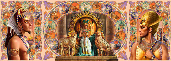 Digital Illustration Photograph - Farley Egyptian Triptych by MGL Meiklejohn Graphics Licensing