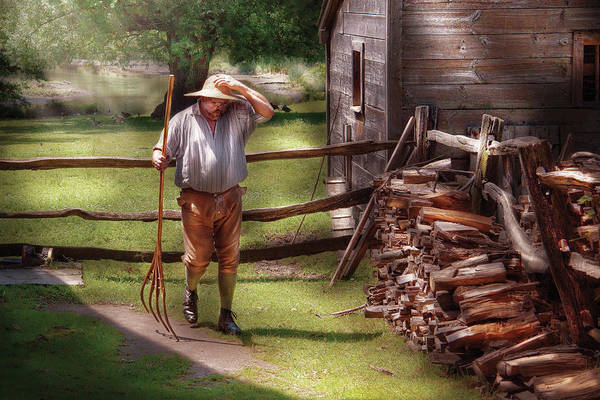 Portriat Photograph - Farm - Farmer - Chores by Mike Savad