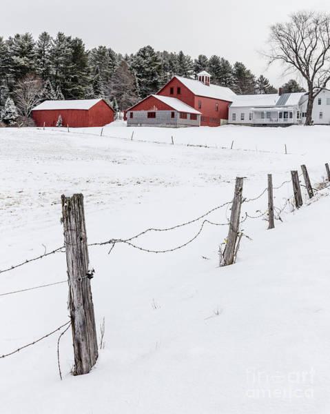 Photograph - Farm Buildings In Winter by Edward Fielding