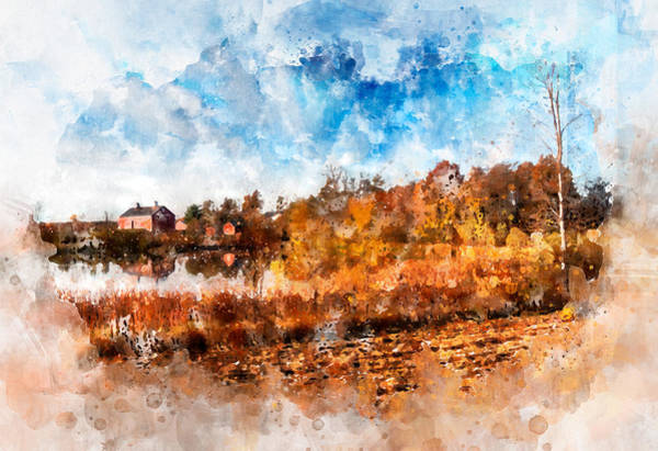 Photograph - Farm Fall Colors Watercolor by Michael Colgate