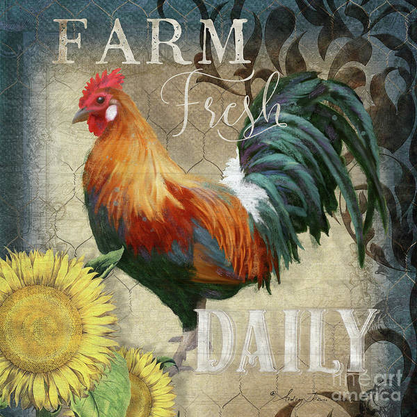 Barnyard Animal Painting - Farm Fresh Red Rooster Sunflower Rustic Country by Audrey Jeanne Roberts