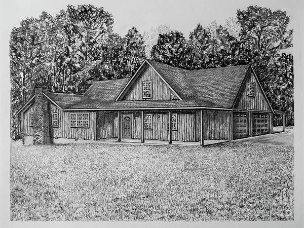 Homestead Drawing - Farm House Portrait 2051 by Robert Yaeger
