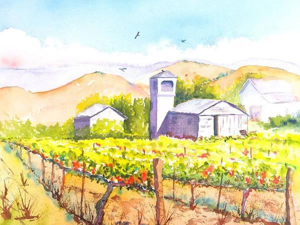 Painting - Farm House Water Tower And Vineyard by Carlin Blahnik CarlinArtWatercolor