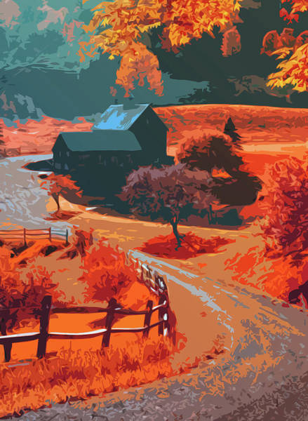 Painting - Farm In Autumn - An Idyllic Panorama by Andrea Mazzocchetti