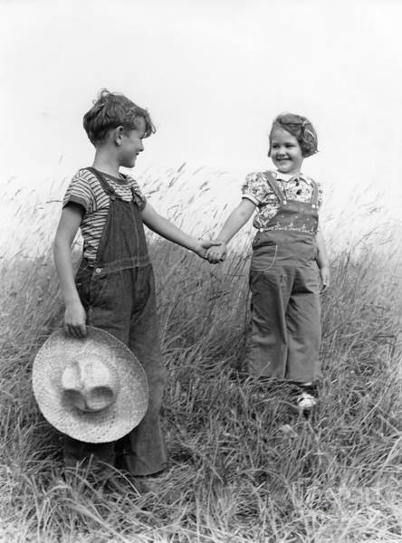 Photograph - Farm Kids Holding Hands, C.1930-40s by H. Armstrong Roberts/ClassicStock
