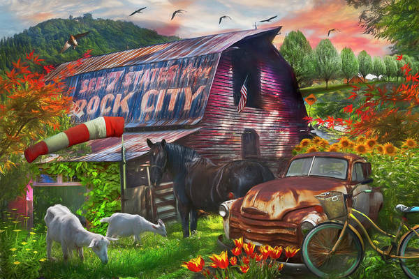 Wall Art - Photograph - Farm Life Along The Country Back Roads Painting by Debra and Dave Vanderlaan