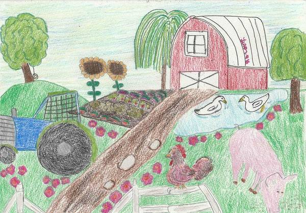 Old Tractor Drawing - Farm Life by Heather Parsons