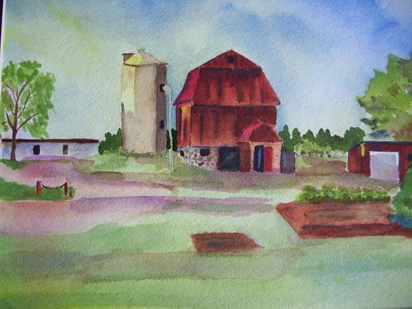 Painting - Farm On Hwy K by Audrey Bunchkowski
