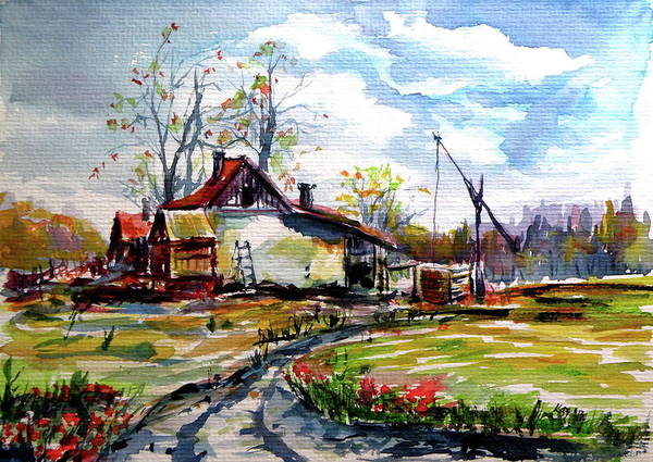 Wall Art - Painting - Farm On The Border by Kovacs Anna Brigitta