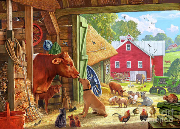 Wagon Digital Art - Farm Scene In America by MGL Meiklejohn Graphics Licensing