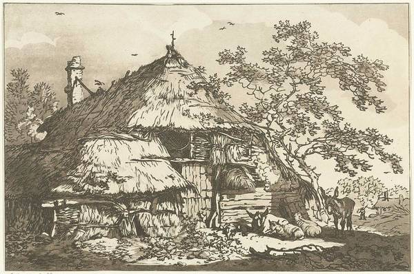 Meijer Painting - Farm With A Cow, Two Sheep And A Donkey In The Yard, Hendrik Meijer, 1789 - 1793 by Hendrik Meijer