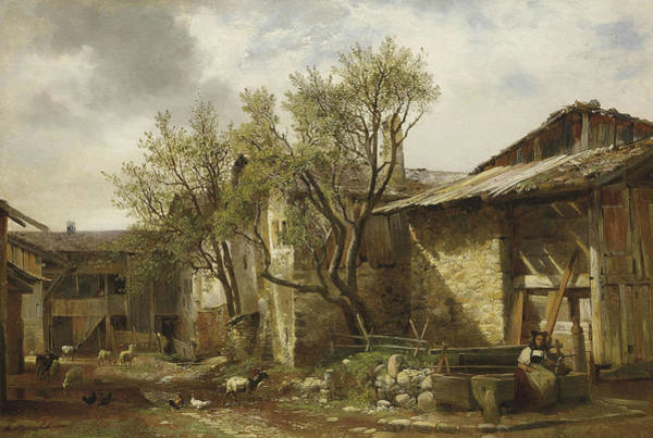 Painting - Farm With Farmer And Animal by Alexandre Calame
