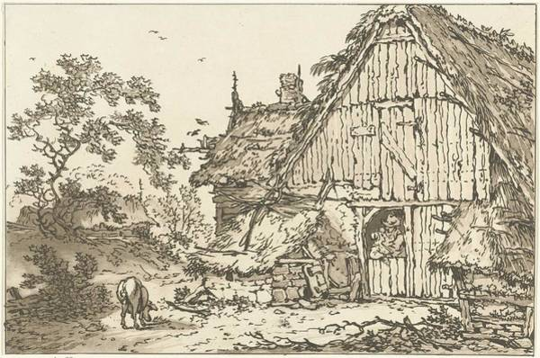 Meijer Painting - Farm With Two People In The Doorway, Hendrik Meijer, 1789 - 1793 by Hendrik Meijer
