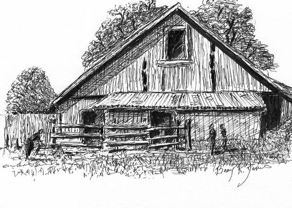 Drawing - Farm Work by Barry Jones