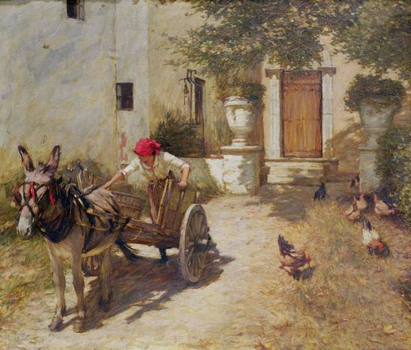 Hen Painting - Farm Yard Scene by Henry Herbert La Thangue