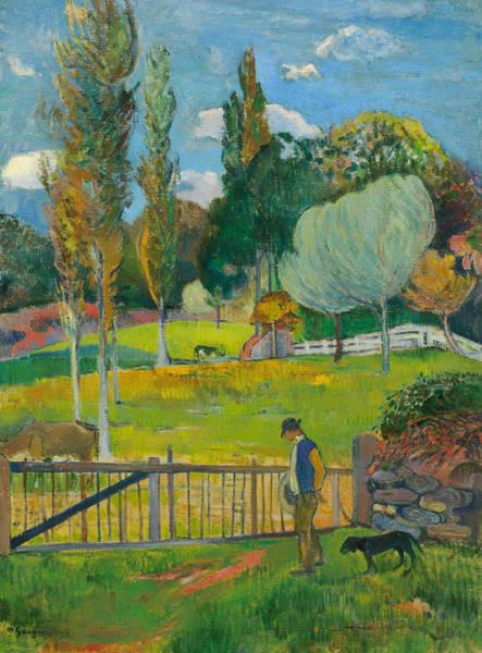 Painting - Farmer And His Dog Near A Barrier by Paul Gauguin