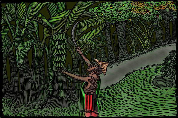 Linoleum Mixed Media - Farmer At Work by Marlon Vassell