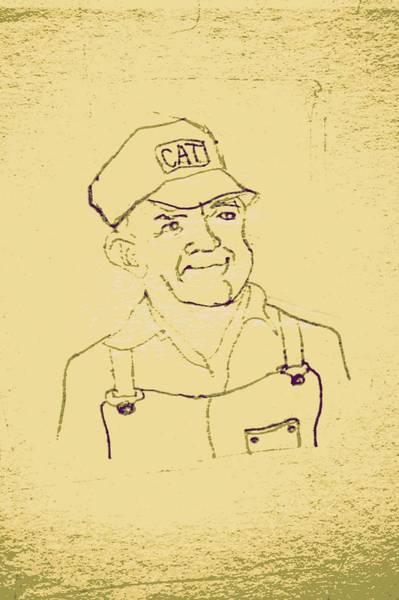 Old Tractor Drawing - Farmer In Cat Hat by Sheri Buchheit