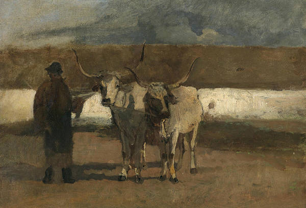 Painting - Farmer With Oxen Harness by Emil Jakob Schindler