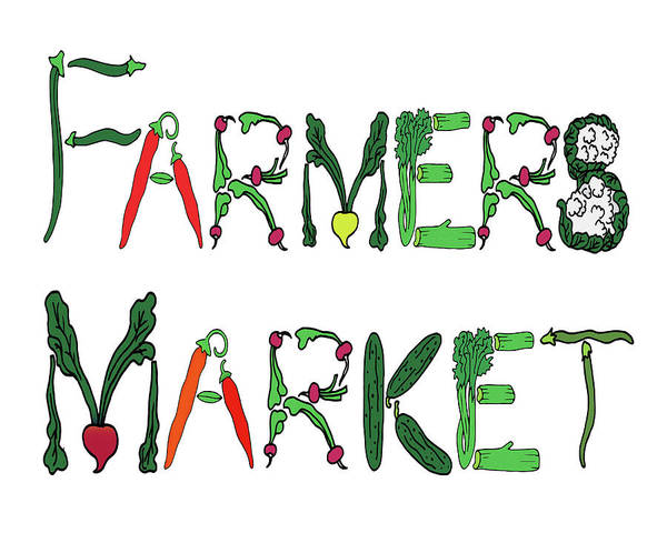 Digital Art - Farmers Market Editorial Illustration by Irina Sztukowski
