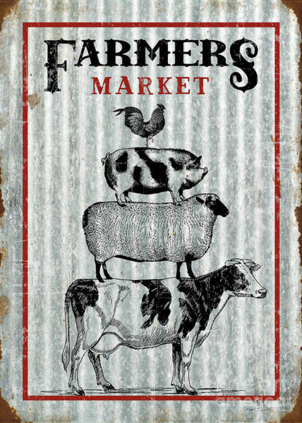 Wall Art - Digital Art - Farmers Market On Tin by Jean Plout