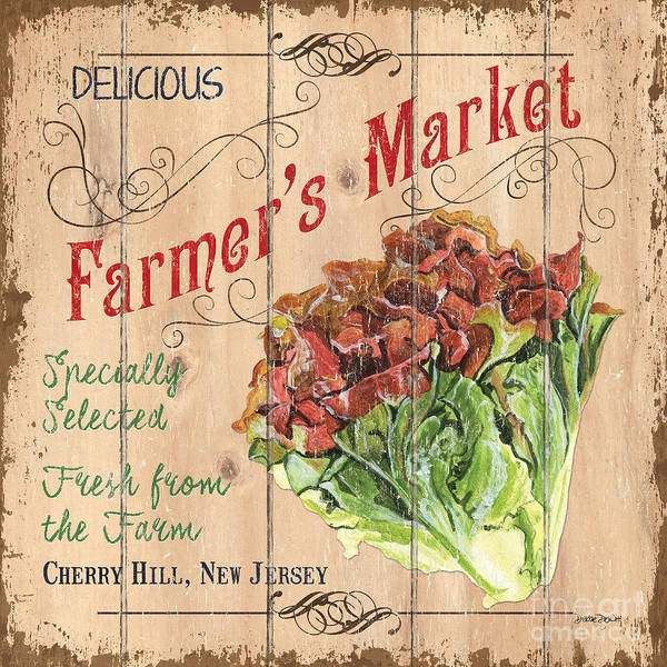 Veggies Painting - Farmer's Market Sign by Debbie DeWitt