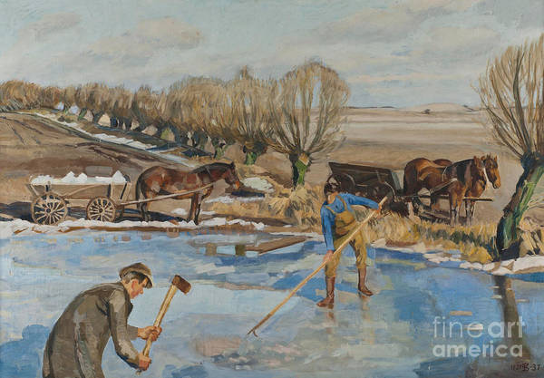 Wall Art - Painting - Farmhands Fetching Ice by Fritz Syberg