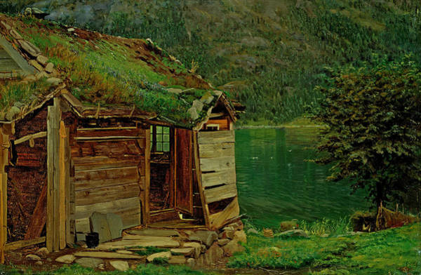 Norwegian Painting - Farmhouse At Balestrand by Amaldus Nielsen